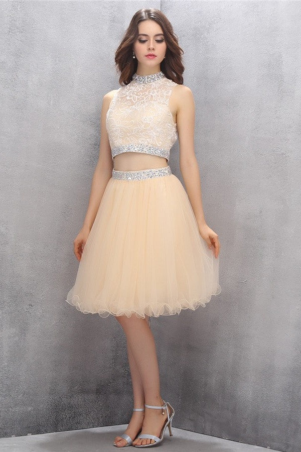 Elegant Beading Two Pieces Knee Length Cute Homecoming Dresses K582