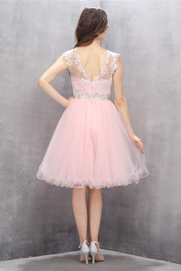 Girly Short Lace Beading V-back Cute Cheap Homecoming Dresses K583