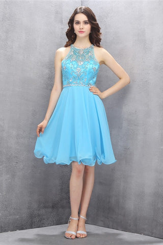 Classy A-line Short Chiffon Light Blue Homecoming Dresses K584