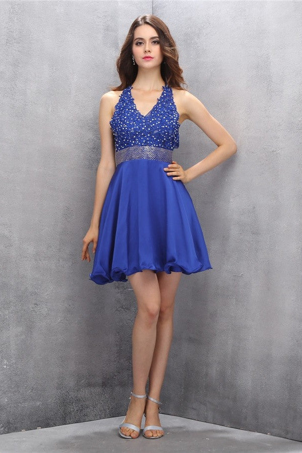 Royal Blue Halter Beading Backless V-neck Homecoming Dresses K585