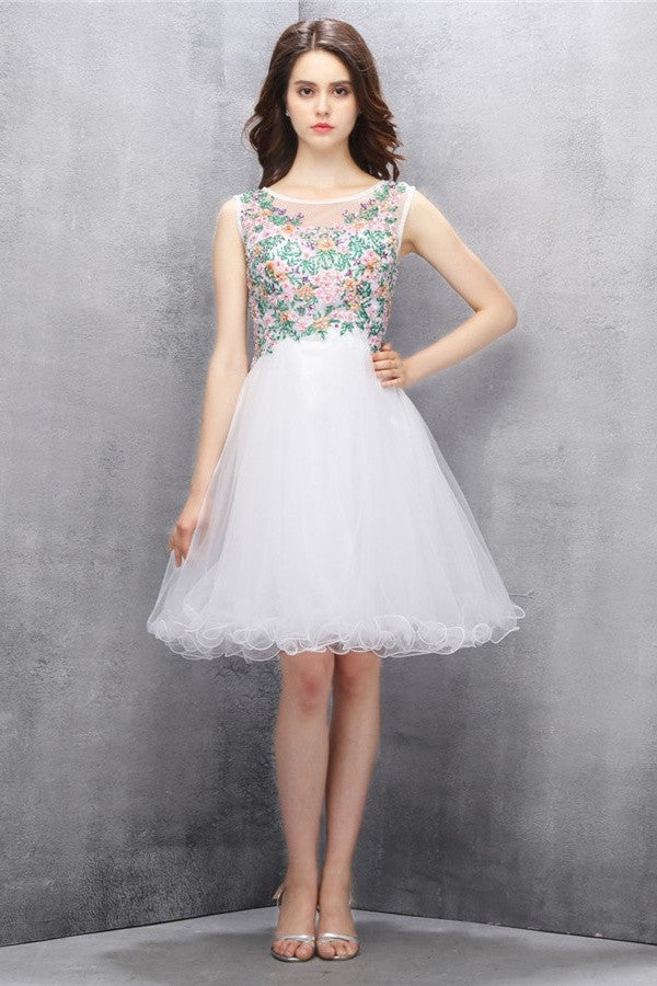 Nice White A-line Tulle Cute Homecoming Dresses With Flower K586
