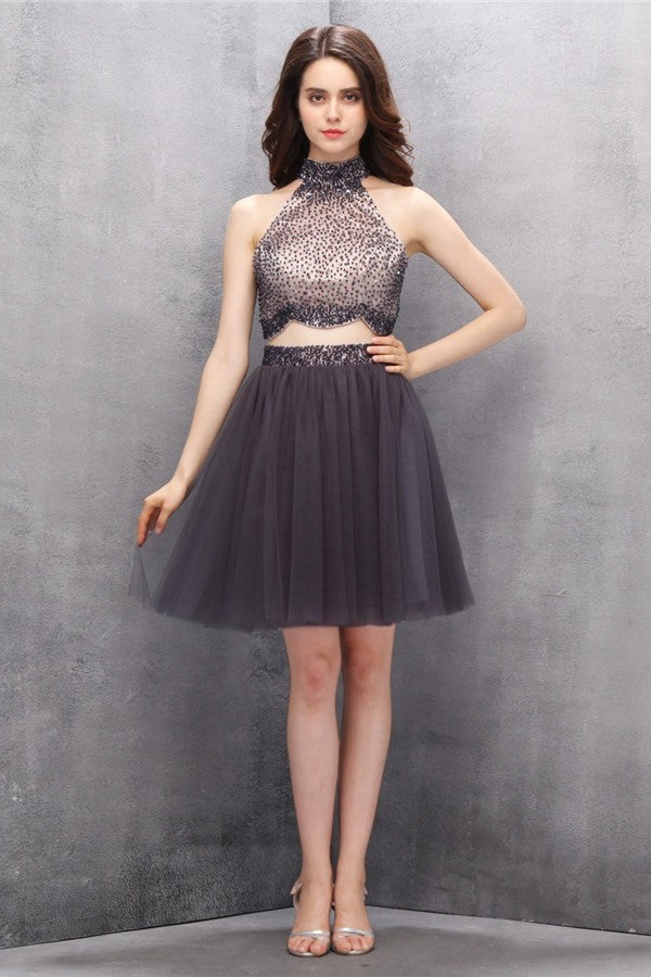 Handmade Zipper Back Short Modest Tulle Homecoming Dresses K588