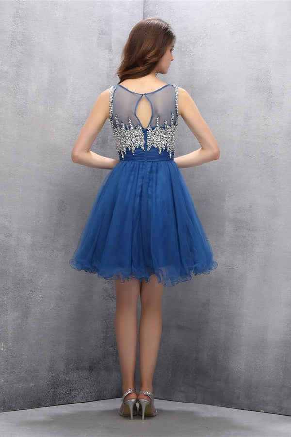 Blue Beading A-line Tulle Elegant Homecoming Dresses K596