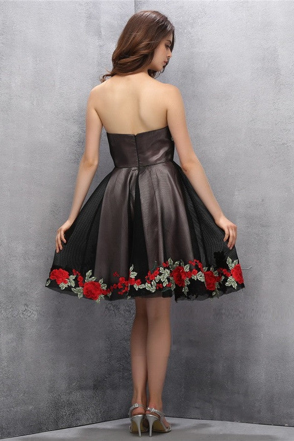 Beauty Black Short Sweetheart Handmade Homecoming Dresses K599