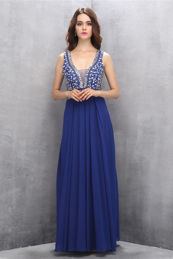 Chiffon Beading Royal Blue V-neck Long Elegant Prom Dresses K619