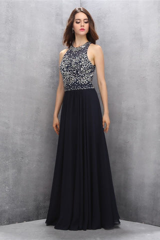 Modest Black Chiffon Beading Charming Long Prom Dresses K620