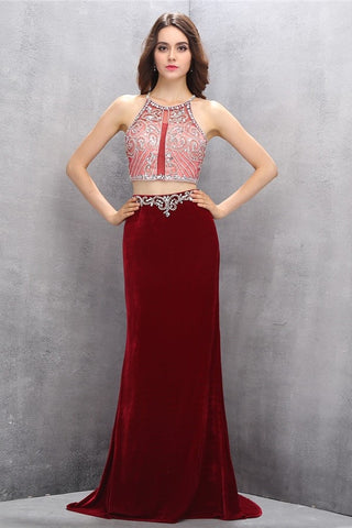 Gorgeous Long Beaded 2 Pieces Beading Mermaid Evening Gowns Prom Dresses K622