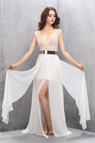 Pretty A-line Handmade See Through Long Chiffon Prom Dresses K624