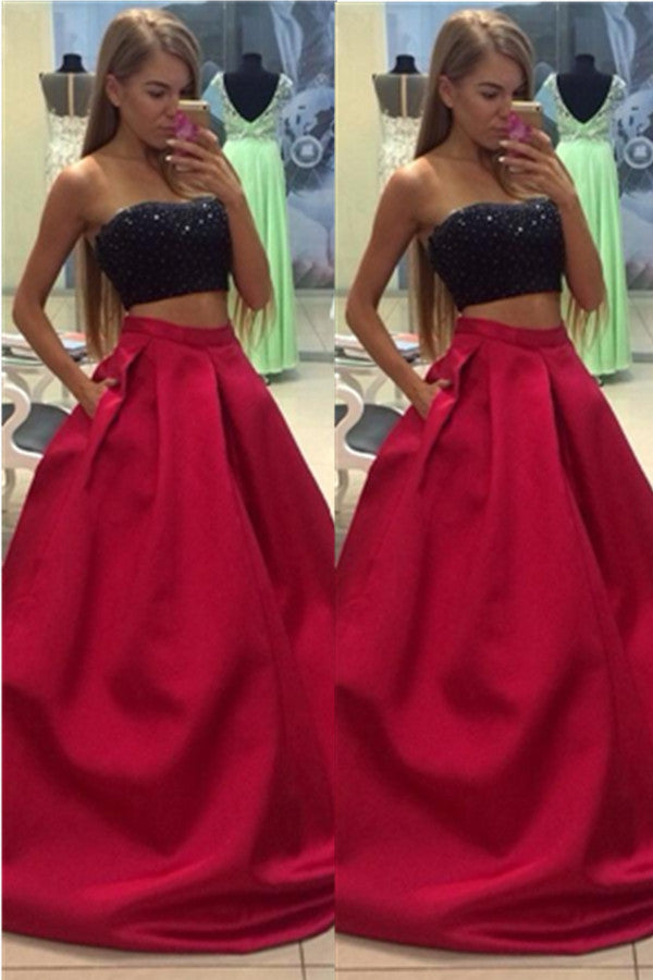 Red And Black Beading Two Pieces Handmade A-line Long Prom Dress K627