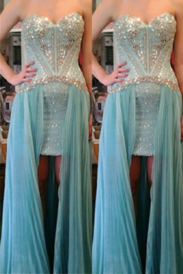 Sweetheart Beaded Modest Cute Girly Blue Prom Dresses K628