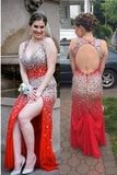 Sparkly Sexy Red Beaded Open Back V-neck Plus Size Prom Dresses K631
