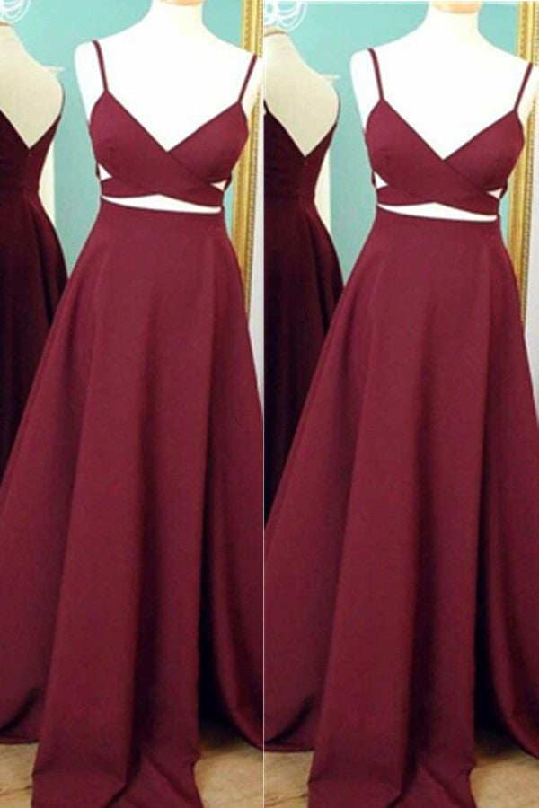 Simple High Quality Cheap Burgundy Long A-line Prom Dresses K632