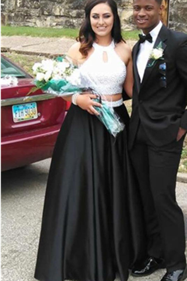 Two Pieces White Top Black Skirt Beading A-line Wedding Prom Dresses K643