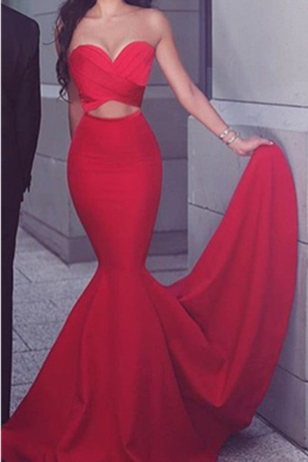 Sexy Simple Red Mermaid High Quality Sweetheart Prom Dresses K648