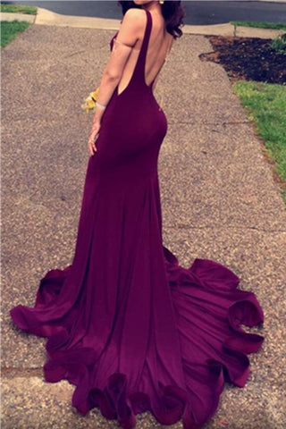 Dark Plum Long Mermaid Open Back Sexy Simple Cheap Prom Dresses K652