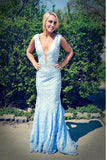 Light Blue Deep V-neck Long Lace Mermaid Prom Dresses K654