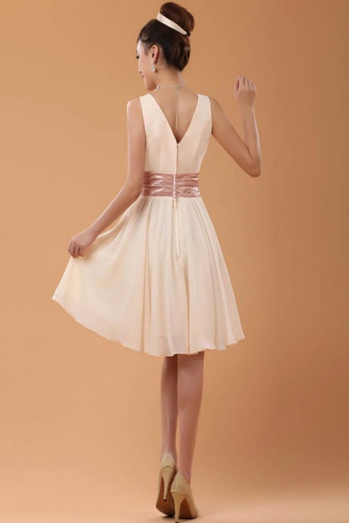 Simple Cheap Chiffon Cute V-neck High Low Homecoming Dresses K69