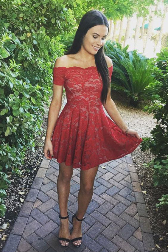 Stylish A-Line Off-Shoulder Red Lace Short Homecoming ...