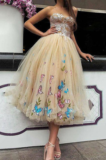 Champagne Prom Dresses,Tea Length Prom Dress,Tulle Homecoming Dress,Ball Gown Prom Dresses,Lace Top Prom Gown,Strapless Prom Dresses