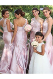 Beautiful One Shoulder Lace Appliques Long Mermaid Pink Bridesmaid Dress OK763