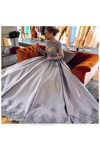 Elegant A-Line Bateau Long Sleeves Grey Satin Prom Dress with Appliques OKF55