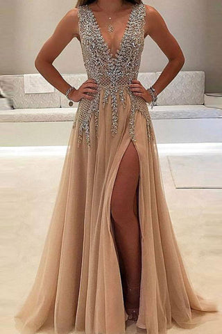 A-line V-neck Tulle Sexy Shinny Rhinestone Long Prom Dress With Slit OKA89