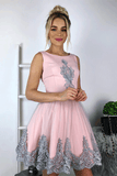 Cute A Line Short Pink Homecoming Dresses With Lace Appliques