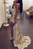 High Low Evening Dress Party Gown,Sexy Lace Sweetheart Mermaid Prom Dresses,Formal Gown OK610