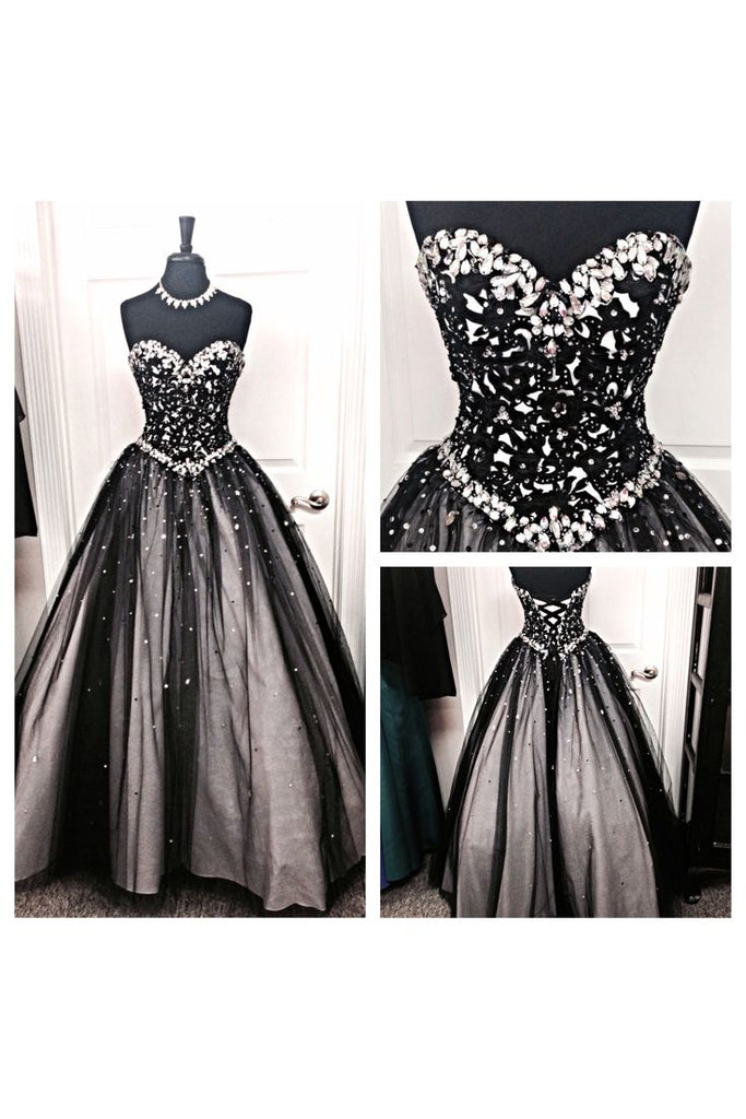 Black White Tulle Long Ball Gown Prom Dress,Sweetheart Beaded Bodice Quinceanera Dresses OK810