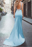 Amazing Beading Satin Scoop Mermaid Blue Long Prom Dress OK696