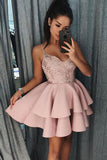 Cute Spaghetti Straps Pink Tiered A Line Short Homecoming Dresses OKB16