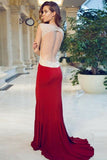 Sheath Red Cap Sleeve Sweetheart Front Slit Long Prom Dresses With Rhinestone OK754