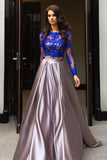 A Line Prom Dresses,Royal Blue Prom Dress,Two Piece Prom Gown,Long Sleeve Evening Dress,Lace Prom Dress
