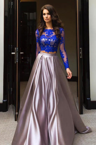 ebf543de8a1 A Line Royal Blue Two Piece Long Sleeve Lace Top Prom Dresses ...