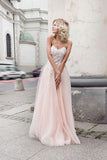 Beautiful Prom Dress,Sweetheart prom dress,Tulle prom dress,Pearl Pink Prom Gown,Appliques prom dress,A-Line prom dress