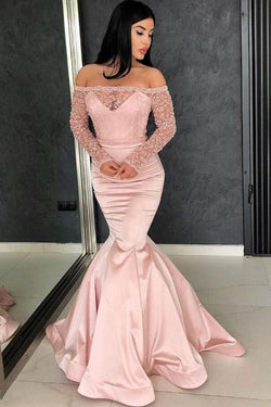 Off the Shoulder Long Sleeves Mermaid Lace Top Pink Long Prom Dresses OKG37