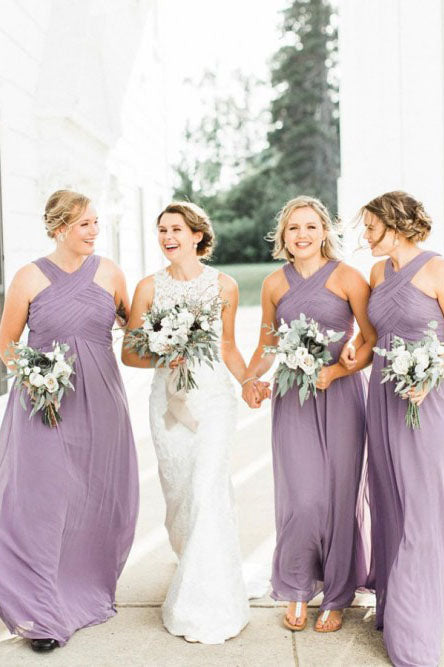 A-Line Floor-Length Lilac Chiffon Pleated Cheap Bridesmaid Dress OKS44