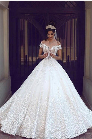 Off the Shoulder Wedding Dresses,Satin Wedding Dress,Ball Gown Wedding Dresses,Short Sleeve Wedding Dresses,Lace Wedding Dress