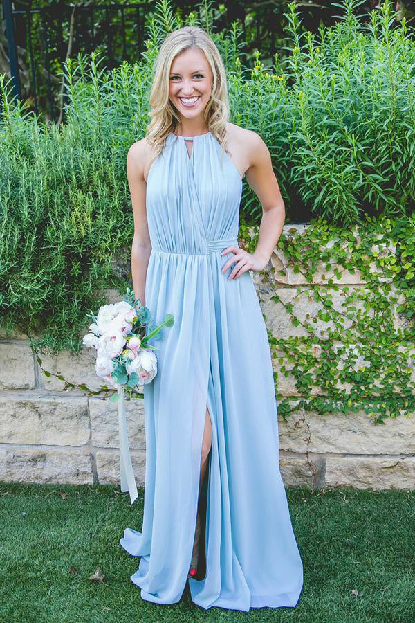 Best Bridesmaid Dresses,Blue Bridesmaid Dress,Split Bridesmaid Dresses,Chiffon Bridesmaid Dress