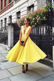 Yellow Prom Dresses,Lace Prom Gown,Deep V Prom Dress,Homecoming Dresses
