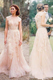 A Line Wedding Dresses,Long Wedding Dress,V-neck Wedding Dresses,Pearl Pink Wedding Gowns,Lace Wedding Dress,Tulle Wedding Dresses