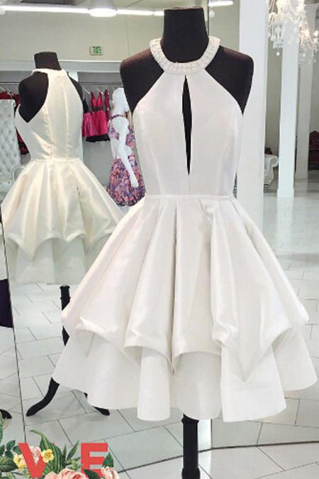 A-line Homecoming Dresses,Simple Prom Dresses,Short Prom Dress,White Homecoming Dresses,Sweet 16 Dresses,Graduation Dress,Short Party Dress,Ball Gown Homecoming Dresses