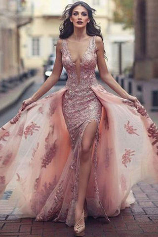 Charming Prom Dresses,Sweep Train Prom Gown,Pink Prom Dress,Appliques Prom Dress