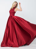 Cheap A-line Red High Neck Applique Satin Long Prom Dresses,Evening Dresses OKA67