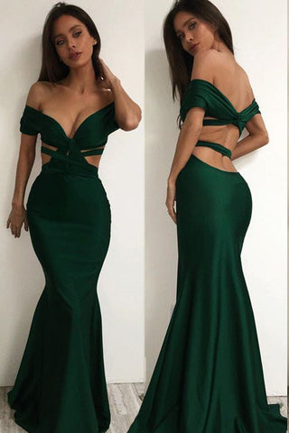 Sexy Off the Shoulder Cross Backless Green Mermaid Prom Dresses OKD73