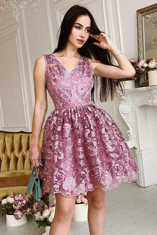 Unique A-Line V-Neck Short Purple Lace Homecoming Dress,Graduation Dresses OKB01