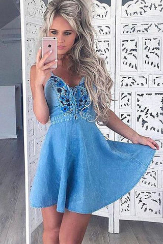 New Arrival Blue A Line Spaghetti Straps Short Homecoming Dress OKB78