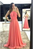 Modest Prom Dresses,Watermelon Prom Gown,Chiffon Prom Dress