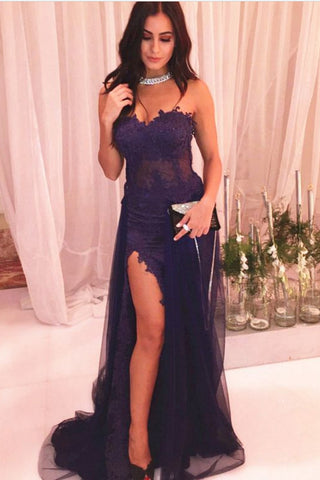 Sexy Prom Dress,Purple Prom Dresses,Lace Evening Gown,See Through Prom Dresses,Front Slit Prom Gown,Long Prom Dress,Sweetheart Evening Dresses