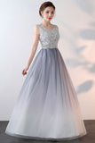 Unique Ombre Beaded A Line Long V Neck Sleeveless Prom Dress OKA70
